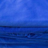 Blue towel softness fluffy fiber fabric of textile fabric Royalty Free Stock Image