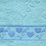 Blue Towel Texture with Love Text and Heart Stock Photo