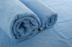 Blue towel. Two rolled towels/texture of fabrics Stock Image