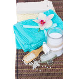 Blue towels and bath accessories Royalty Free Stock Photos