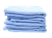 Blue Towels Isolated on White Background Royalty Free Stock Photo