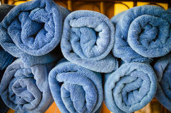 Blue towels pile Royalty Free Stock Image