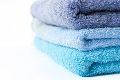 Blue towels stacked Stock Photo