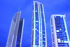 Blue tower buildings at nightfall Stock Image