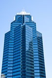Blue Tower with Window Washer Royalty Free Stock Photo