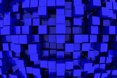 Blue Towers. 3D Blue Blocks Abstract Background Stock Photography