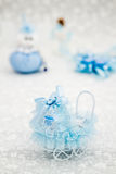 Blue Toy Baby Carriage Prepared as a Gift for Baby Shower. On white background royalty free stock images