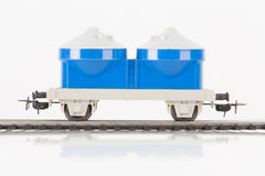 Blue toy car. Pictured items of a toy railroad Royalty Free Stock Photography