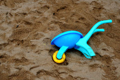 Blue Toy Cart. A blue toy cart/trolley in sands Royalty Free Stock Images