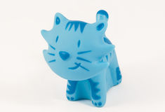 Blue Toy cat. View of a little sweet blue isolated cattoy stock photography