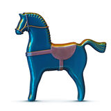 Blue toy metal horse  on white Royalty Free Stock Photo