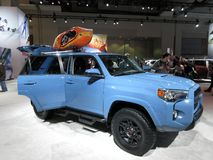 Blue Toyota Sports Utility Vehicle. Photo of blue toyota sports utility vehicle at the washington dc auto show on 2/3/18. This car can go off road and transport stock photography