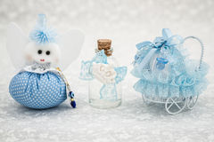 Blue Toys for Boy Prepared as a Gift for Baby Shower. On white background royalty free stock photo