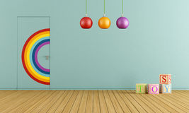 Blue toys room. Colorful doors flush with the wall in a blue toys room Royalty Free Stock Photos