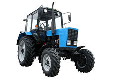 Blue tractor royalty free stock images