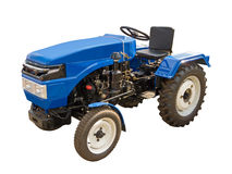 Blue tractor. On a white backgroun Royalty Free Stock Image