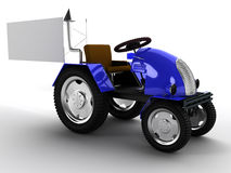 Blue tractor with a big white empty pointer №3 Stock Photo