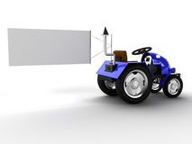 Blue tractor with a big white empty pointer №1 Royalty Free Stock Photography