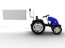 Blue tractor with a big white empty pointer №2 Royalty Free Stock Photo