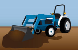 Blue Tractor with dirt. Tractor with bucket filled with dirt colorful vector illustration on blue and brown background Royalty Free Stock Image