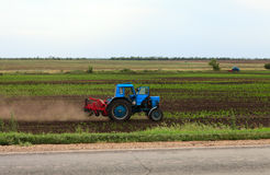 Blue tractor on a field Royalty Free Stock Image