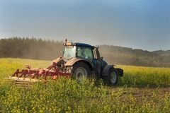 Blue tractor in a field of mustard in the Czech Republic. Dusty field and agricultural work. Autumn farm chores. Royalty Free Stock Photography