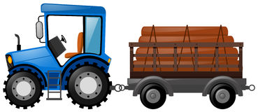 Blue tractor loaded with logs. Illustration royalty free illustration