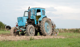 Blue tractor Royalty Free Stock Photos