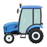 Blue tractor side. Blue tractor a side view on white background vector illustration