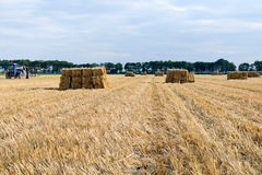 Blue tractor transporting haystack Royalty Free Stock Image