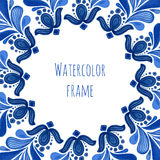 Blue traditional floral frame in russian gzhel style or holland style. Vector template with watercolor decoration Royalty Free Stock Photo