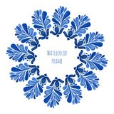 Blue traditional floral round frame in russian gzhel style or holland style. Vector template with watercolor decoration Stock Photography