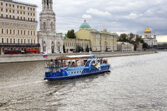 Blue, traditional tour boat on Moskva river Royalty Free Stock Images