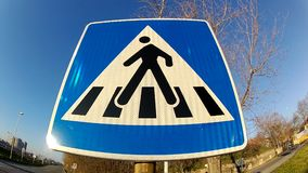 Traffic Signs Pedestrian Walkway. Blue Traffic Signs Pedestrian Walkway stock video footage