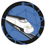 Blue train emblem Stock Photos