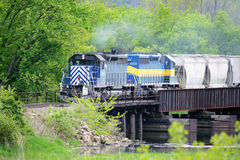 Blue Train II. A Blue train crossing a bridge in the woods Royalty Free Stock Photos