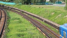Blue train. Metro in Kiev, Ukraine stock video