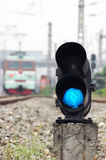 Blue train signal Royalty Free Stock Image