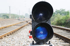 Blue train signal. Blue  lights attached to train signal Stock Photo