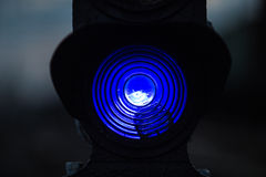 Blue train traffic light Stock Images