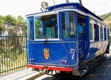 Blue tram. Blue vintage tram in Barcelona, Spain Stock Photo