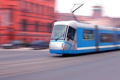 Blue tram stock photos