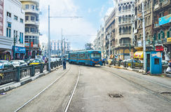 The blue tram Royalty Free Stock Image