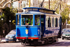 The blue tram Stock Image