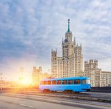 Blue Tram in the City Center of Moscow At Sunrise, Russia. Blue Tram in the City Center of Moscow At Sunrise, Old Blue Tram in Moscow, Russia stock photos