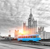 Blue Tram in the City Center of Moscow At Sunrise, Old Blue Tram in Moscow, Russia. Toned In Black And White royalty free stock photo