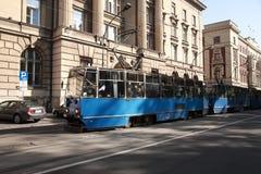 Blue tram, Krakow Stock Image