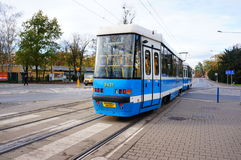 Blue tram Royalty Free Stock Photos