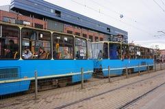 Blue tram Stock Image