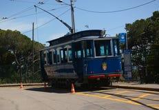 Blue tramway. Tramvia Blau Stock Photos